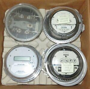 SCHLUMBERGER SANGAMO LANDIS+GYR ELECTRIC WATTHOUR METER (KWH) SET LOT USED 4 PC