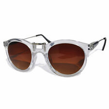 Mens Womens Wayfarer Sunglasses Large Round Vintage AU Post Free 027 Clear Brown
