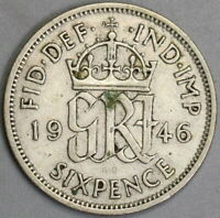 1946 Great Britain 6 Pence Last Silver George VI Coin (20102805R)
