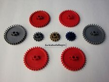 """KNEX GEAR LOT: 2 1/4"""" Red & Gray/Silver and 1"""" Gears: Gold,Blue,Grey Bulk Parts"""