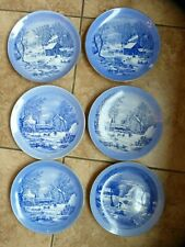 Vtg Currier & Ives 6 Plates The Farmer's winter A home in the winter wilderness