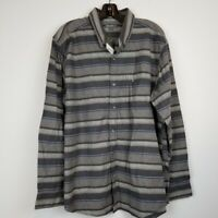 NWT Eddie Bauer men's relaxed fit striped flannel button up shirt size large