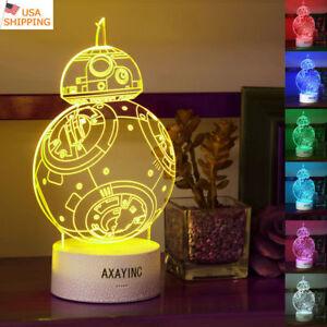 Star Wars BB-8 Robot 3D LED Xmas Night Light Table Desk Lamp Brithday Gift Toy