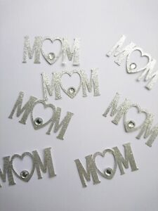 6 Silver Happy Mothers Day Cupcake Toppers with Gem