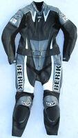 Gut erhaltene BERIK Moto Fun Gr. 52 Zweiteiler Lederkombi schwarz grau Leather