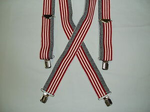 """2.00 American Flag 2"""" Patriotic Red Navy Blue White Suspenders Braces USA New"""