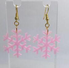 Pink Glow In The Dark Snowflake Earrings H025 kitsch 6.7 cm Long Silver Pale