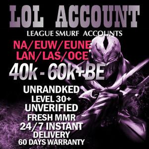 NA EUW EUNE LAN LAS OCE League of Legends LOL Smurf Account IP Level 30 Unranked