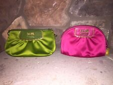 Coach Authentic Amanda Satin Purse/Clutch/Wristlet (Green) + Cosmetic Bag (Pink)