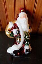 "Glass Santa carrying sack 7"" x 4"" ornament"