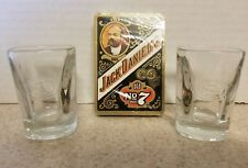 Jack Daniels Old No 7 Square Glass Shot Glasses Lot of 2 + Playing Cards Poker