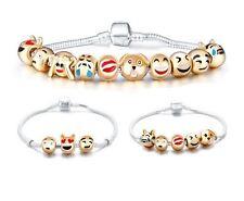 Emoji Faces 18K Gold GP European 10 Beads Charm Silver 17cm Bracelet Jewelry USA