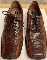 Stacy Adams Snakeskin Mock Corocodile Brown Oxford Square Toe Shoes Size 9.5 M