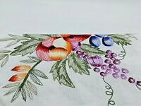 Table Cloth Harvest Fruit 66 by 104 Hand Embroidered Cut Work Vintage 1994