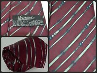 Vtg Gucci G Belt All Over Print Red Skinny Luxury Neck Tie Silk Italy 1973 LUXE