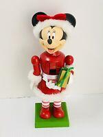 Disney Minnie Mouse Mrs. Santa Claus Christmas Nutcracker Holding Gift Box