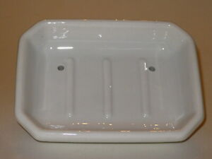 ANTIQUE PORCELAIN SOAP DISH BY AVCO COMPANY *FAUCET MOUNT *NEW OLD STOCK *1940s