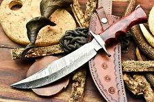 Rare Custom Handmade Damascus Steel Blade Bowie Hunting Knife | walnut wood