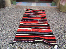 Moroccan Handmade Authentic Berber Stripted Rug, 4 x 1.77 Ft, Multi-Color