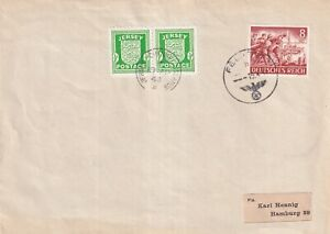 JERSEY WARTIME OCCUPATION 19 APRIL 1943 JERSEY & GERMAN FELDPOST TO ENVELOPE