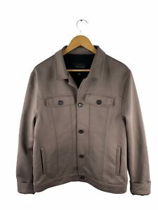 River Island Button Jacket Mens Size L Brown Long Sleeve Stretch Pockets Collar