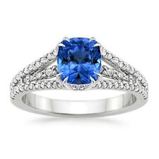 Real Blue Sapphire 1.75ct Diamond gemstone White Gold Finish Silver Ring Size O