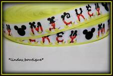 "1Y 7/8"" ""MICKEY"" MOUSE ALPHABET LETTERS PRINTED GROSGRAIN RIBBON HAIRBOW YELLOW"