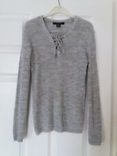 Primark / Atmosphere  grey lace up front ribbed thin knit jumper size 6
