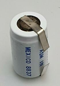 1.2V 450mAh NiCd RECHARGABLE BATTERY 1/2A SIZE WITH SOLDER TAG