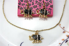 New Betsey Johnson jewelry sets Enamel Elephant pendant earrings necklaces YY814