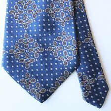 Paul Stuart Blue Tie with Multicolor Tennis Motif 100% Silk Made in USA