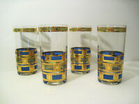 Vtg set 4 Culver EMPRESS Mid-Century Gold Blue Green HIGHball Regency Glasses **