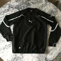 Vintage Mens Puma Black White Embroidered Pullover Windbreaker Jacket Top Small