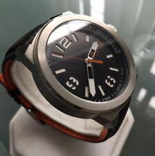 Mens Genuine Hugo Boss Orange Designer Watch Black Leather Steel Steel