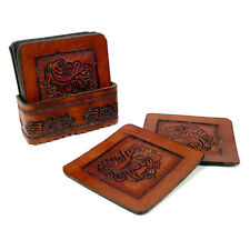 #455 8 PC Top Grain Saddle Leather Coasters Set & Tray Hand Tooled Western Bar