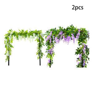 4x7FT Artificial Wisteria Vine Garland Plant Foliage Trailing Flower Decor
