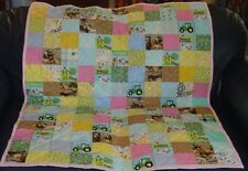"Handmade Baby Girl Crib Quilt, John Deere & Farm Animals, 38"" x 46.5"""