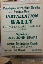 1950 PHILADELPHIA PA INTERMEDIATE CHRISTIAN ENDEAVOR UNION INSTALLATION POSTER