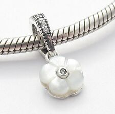 WHITE FLOWER PENDANT CHARM Bead Sterling Silver.925 for European Bracelet 507