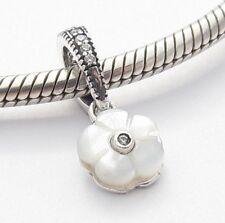 WHITE FLOWER PENDANT CHARM Bead Sterling Silver.925 for European Bracelet 507