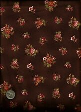"""Isabella"" Print rose green cream on brown Fabric by Anna Fishkin - Red Rooster"