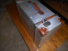 Vintage Suitcase Trunk Train Case Leather and Metal Retro Antique Luggage Decor