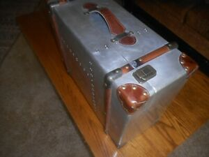 Vintage Suitcase Trunk Train Case Leather and Metal Retro Antique Luggage Decor