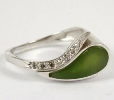 Echtschmuck-Ringe aus Weißgold mit Jade-Hauptstein
