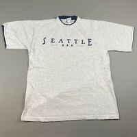 Vintage 1999 Seattle T Shirt Size Medium Men's Heather Gray 90's Short Sleeve