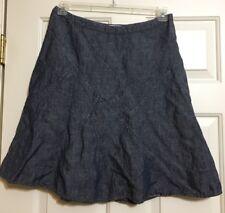 Women's CAbi size 8 blue denim linen A-line skirt