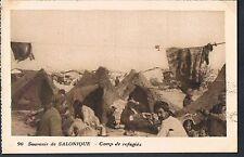 FRENCH POSTCARD Thessaloniki A Refugee Camp c1915 - perf