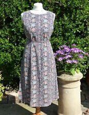 Vintage 1970's-1950's Retro Boho Floral Print Summer Sun Dress Tea Dress 10