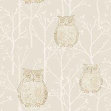 Blendworth Wallpaper, Owl Print Gold Cream Wallpaper TAWNY/001