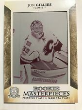 2017-18 The Cup Jon Gillies Rookie Masterpieces Plate 1/1 Calgary Flames Magenta